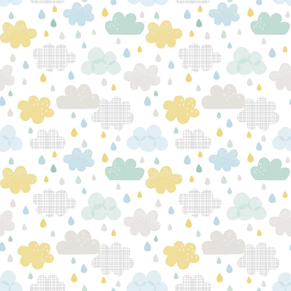 Lilipinso Drops and Clouds Ecru Wallpaper - Product code: H0418