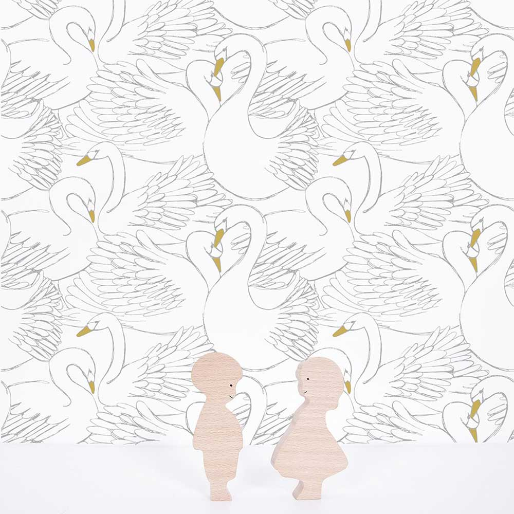 Swans Wallpaper - Black / White - by Lilipinso