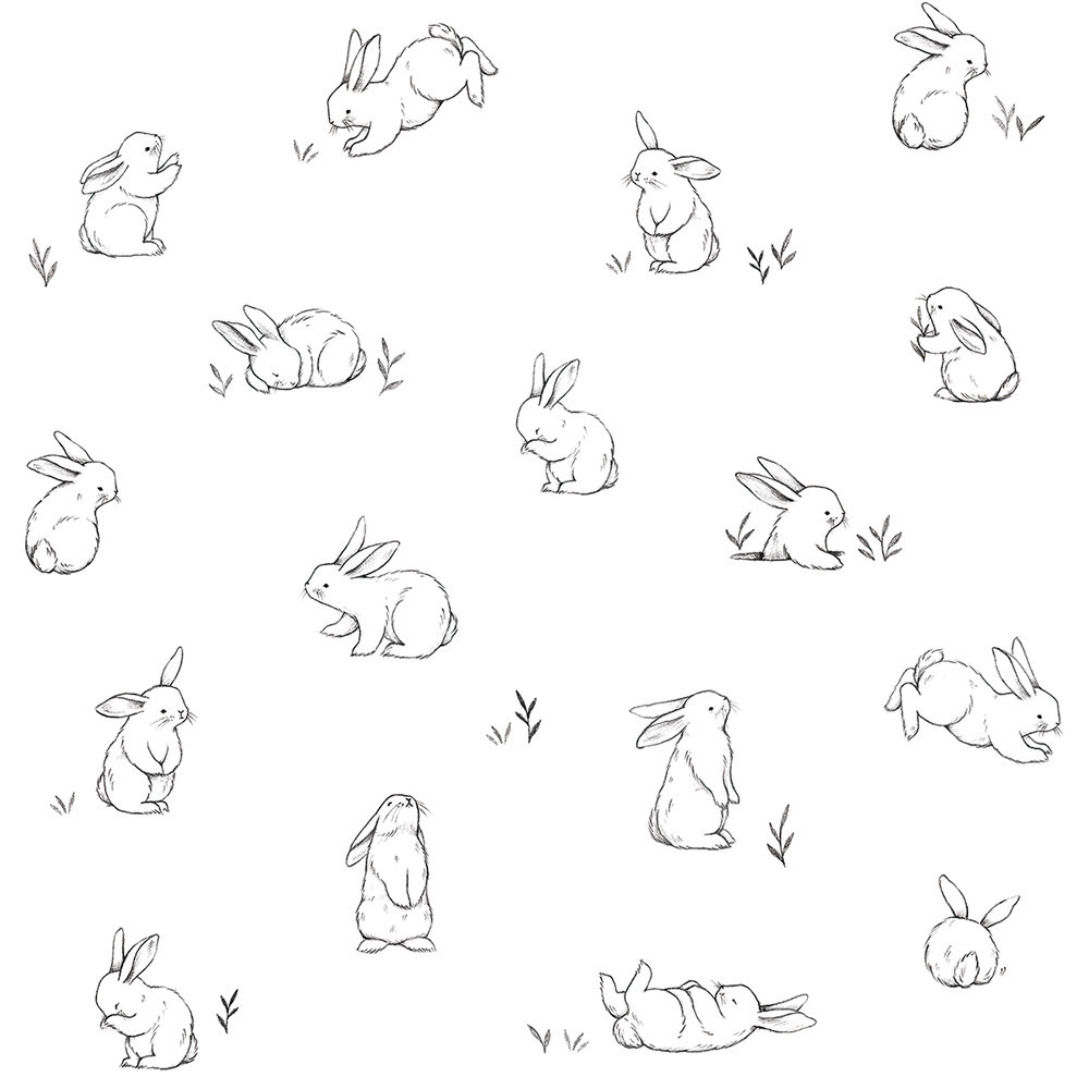 Lilipinso Bunnies in the Country Black / White Wallpaper - Product code: H0440