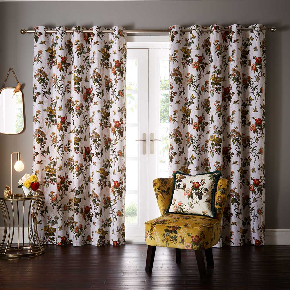 Leighton Eyelet Curtains Ready Made Curtains - Ivory - by Oasis