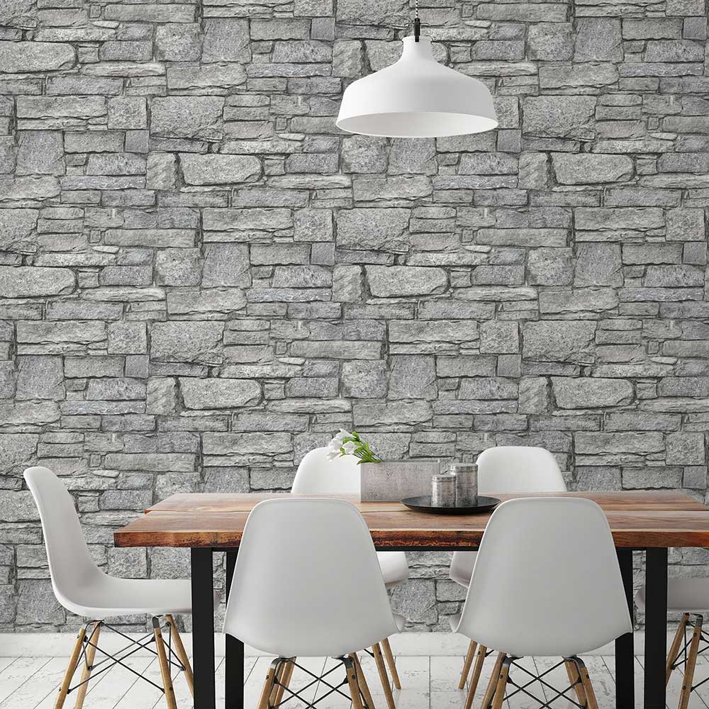 Albany Granite Wall Grey Wallpaper - Product code: PP3901