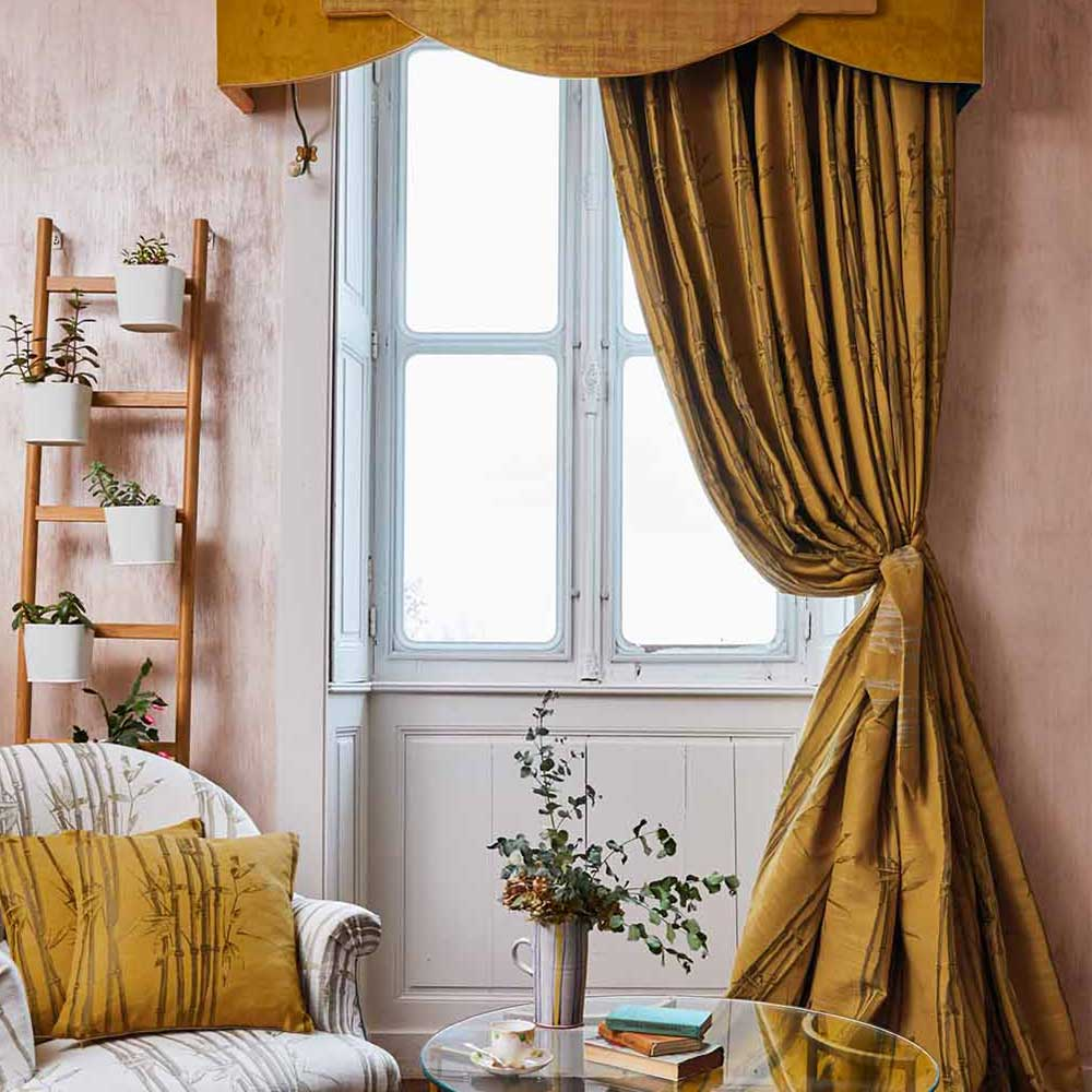 The Chateau Oriental Garden Bamboo Curtains Ready Made Curtains - Ochre - by The Chateau by Angel Strawbridge