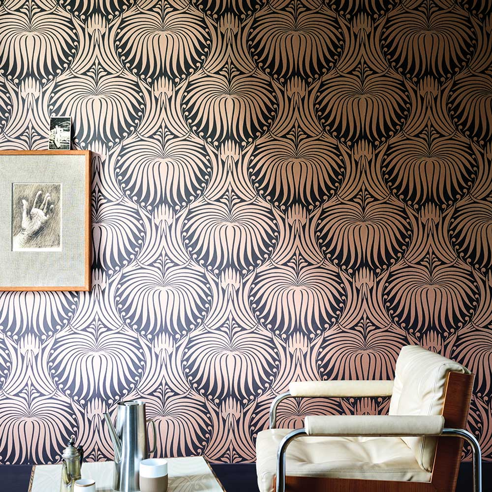 Lotus Wallpaper - Black / Copper - by Farrow & Ball