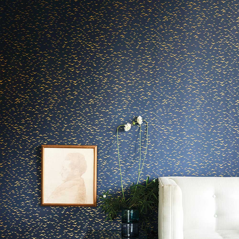 Yukutori  Wallpaper - Blue / Gold - by Farrow & Ball
