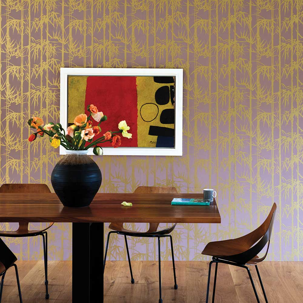 The Bamboo Papers Wallpaper - Gold  / Pink - by Farrow & Ball