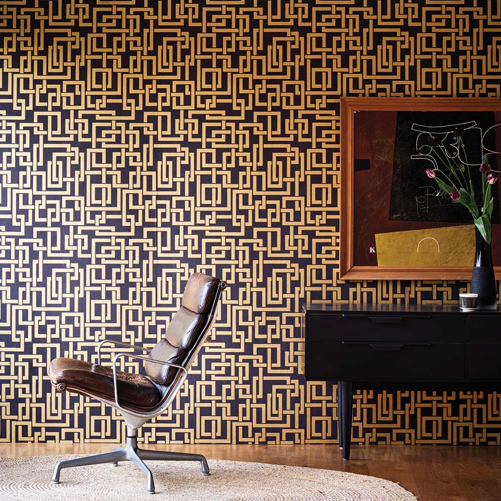 Enigma Wallpaper - Black / Gold - by Farrow & Ball