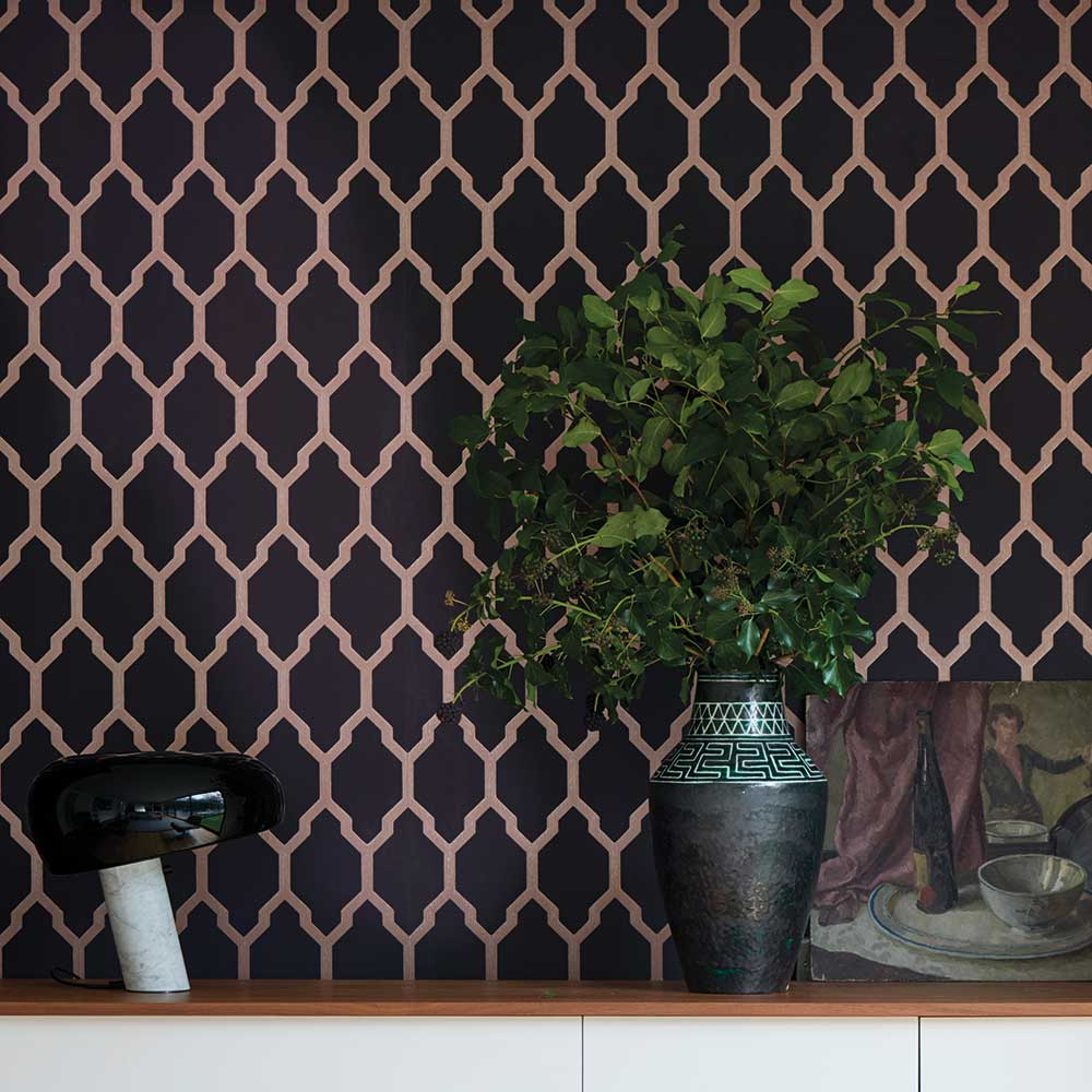 Tessella Wallpaper - Black / Copper - by Farrow & Ball