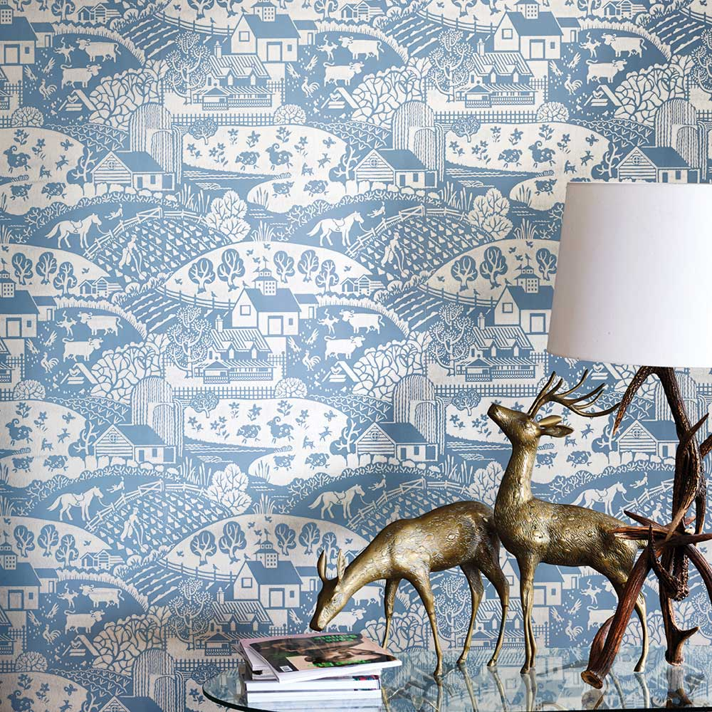 Gable Wallpaper - Blue / Gilver - by Farrow & Ball