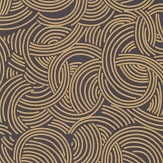 Farrow & Ball Tourbillon  Black / Gold Wallpaper - Product code: BP 4809