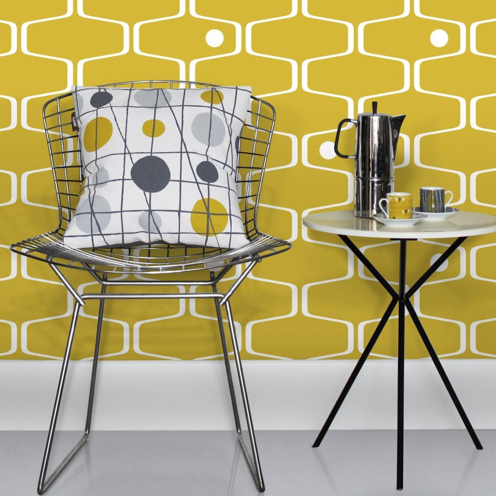 Mini Moderns Net & Ball Mustard Wallpaper - Product code: AZDPT038MU