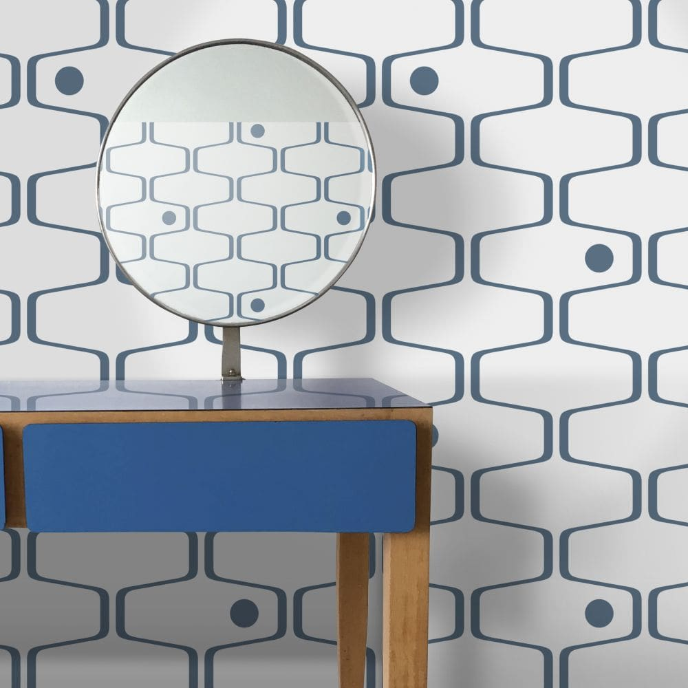 Net & Ball Wallpaper - Washed Denim - by Mini Moderns