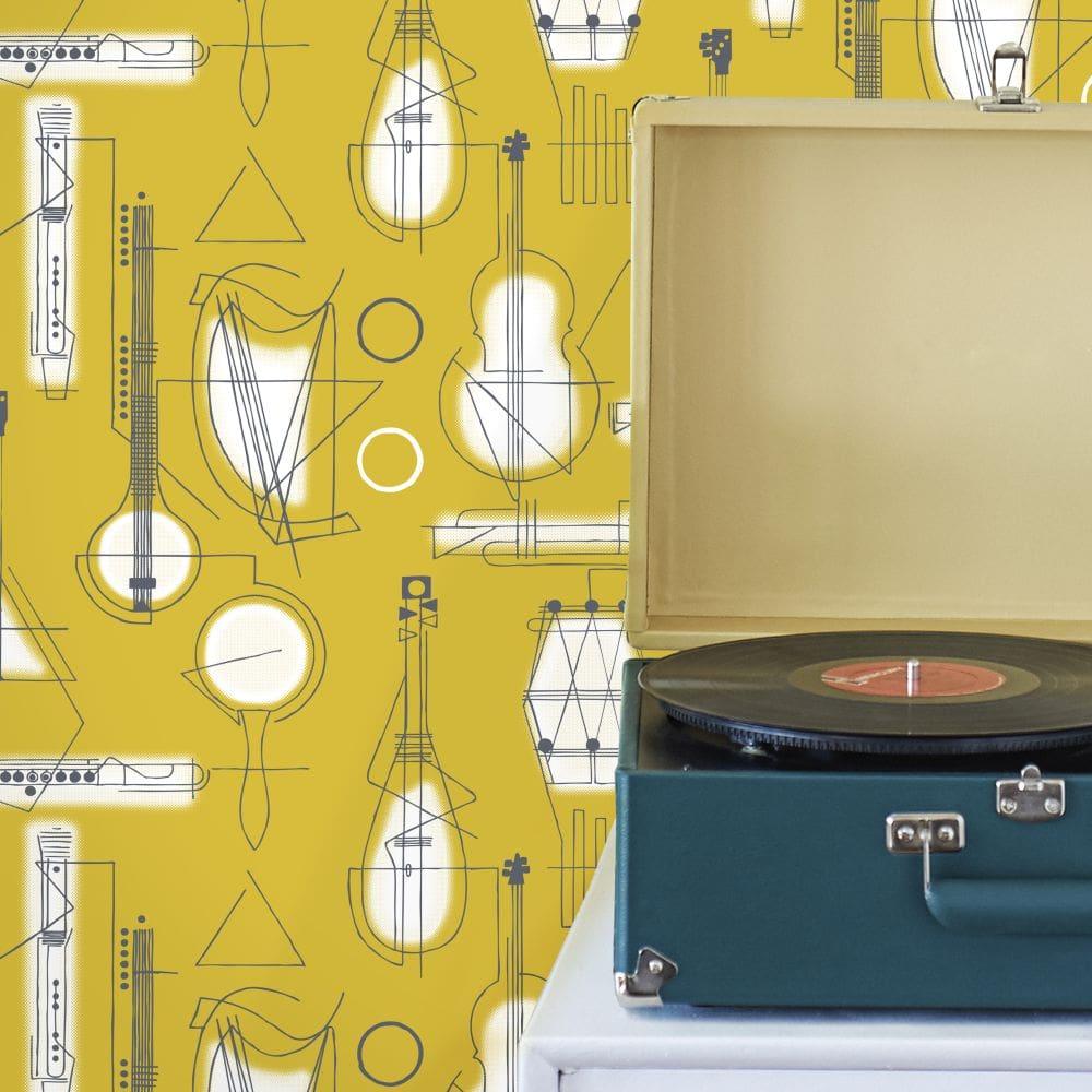 Mini Moderns Concert Mustard Wallpaper - Product code: AZDPT039MU