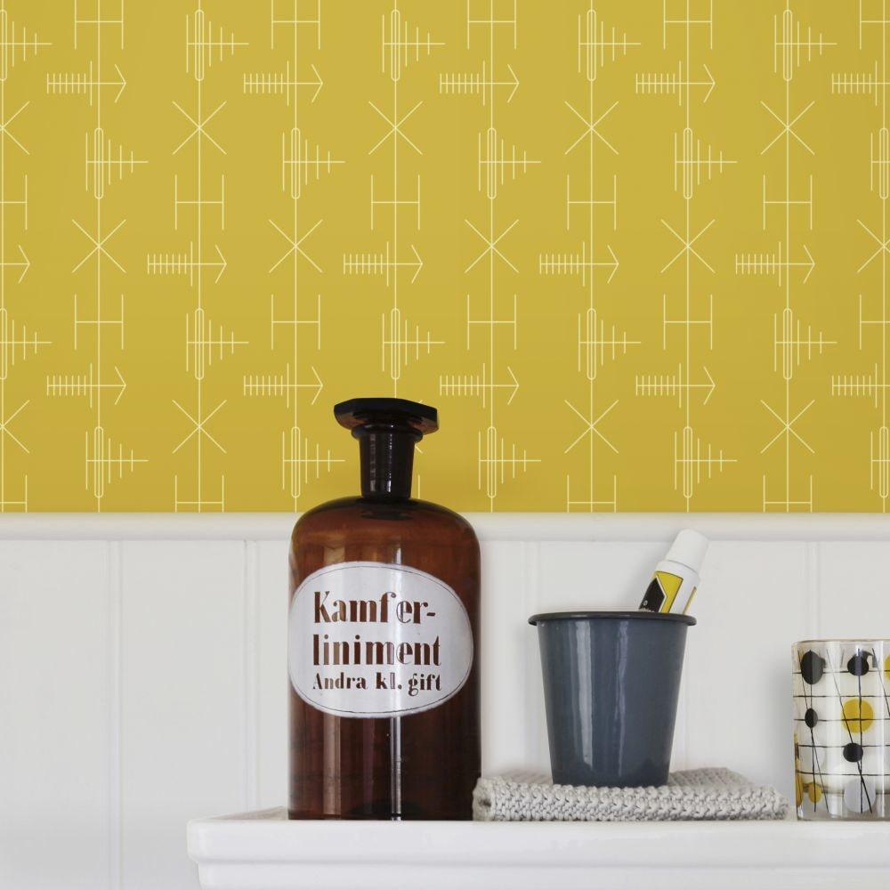 Mini Moderns Transmission Mustard Wallpaper - Product code: AZDPT040MU