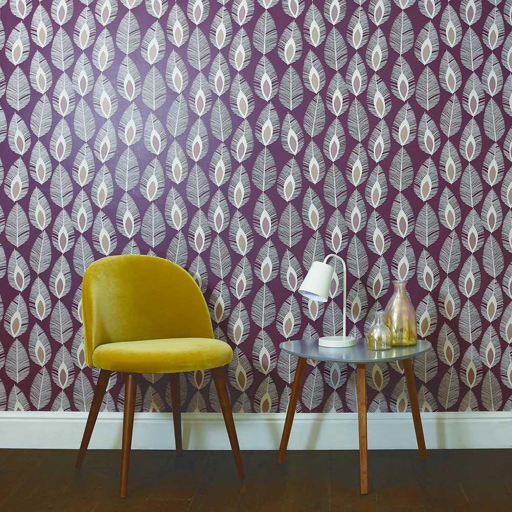 Arthouse Glam Feather Plum Wallpaper - Product code: 904500