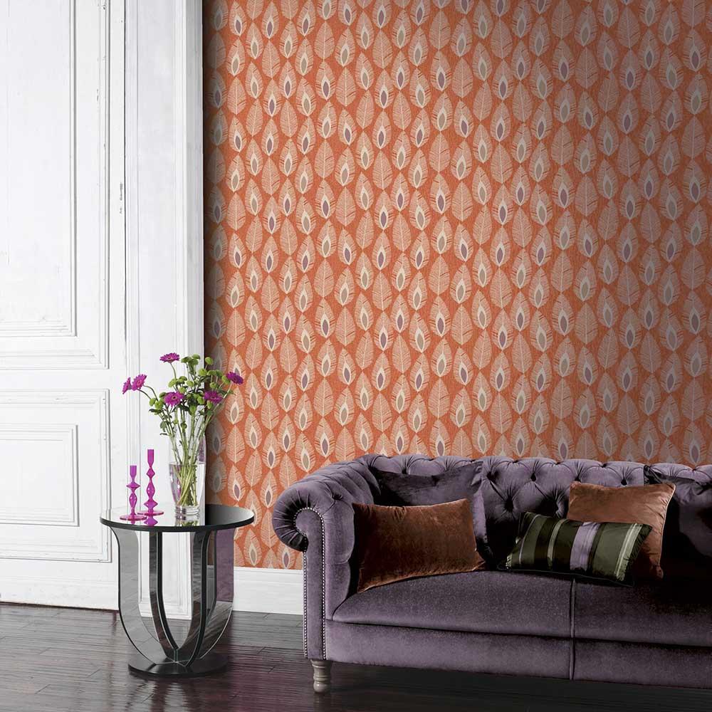 Arthouse Glam Feather Orange Wallpaper - Product code: 904501
