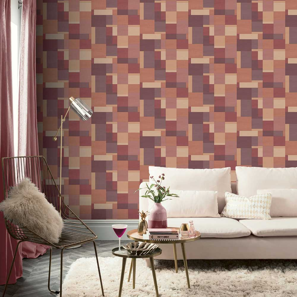 Arthouse Cubico Multi Plum Wallpaper - Product code: 904505