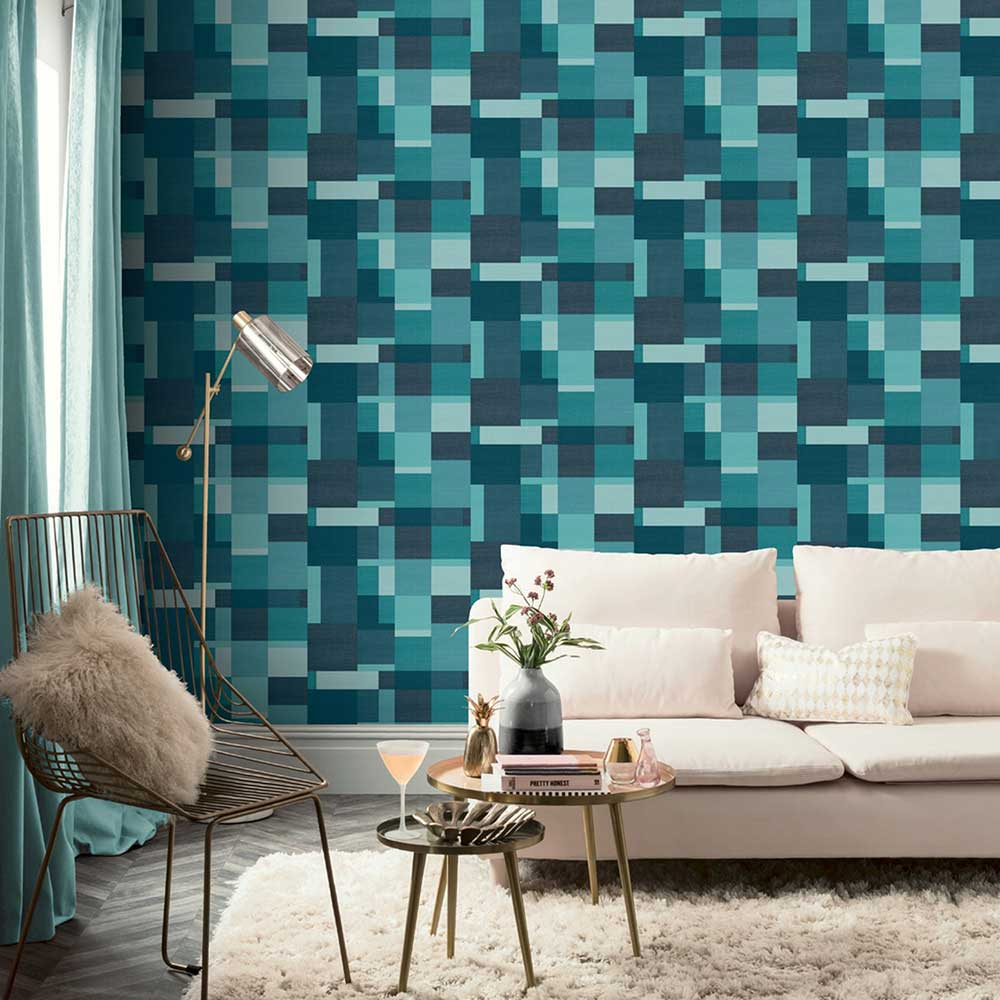 Arthouse Cubico Multi Teal Wallpaper - Product code: 904507