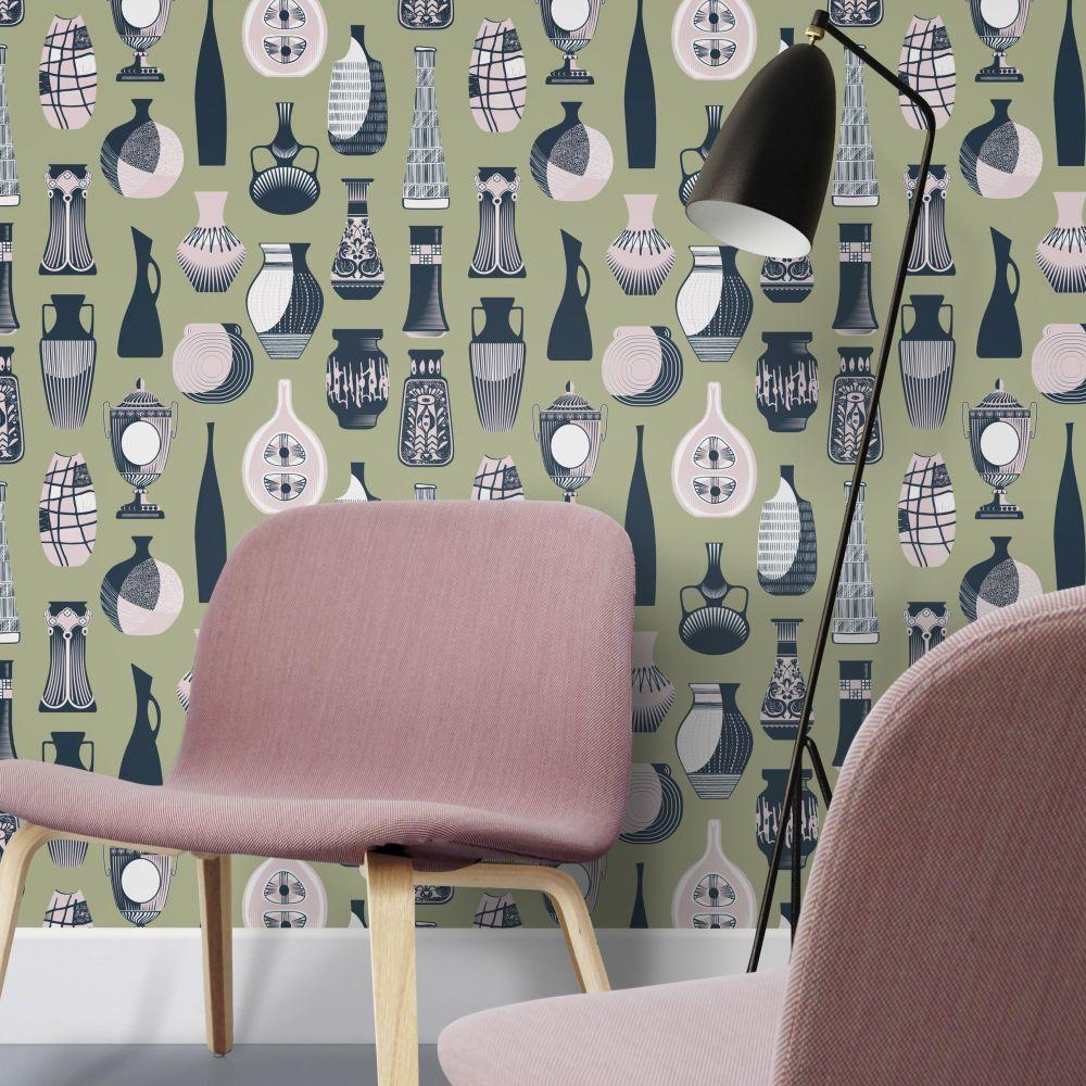 Mini Moderns Vessel British Lichen Wallpaper - Product code: AZDPT043BL