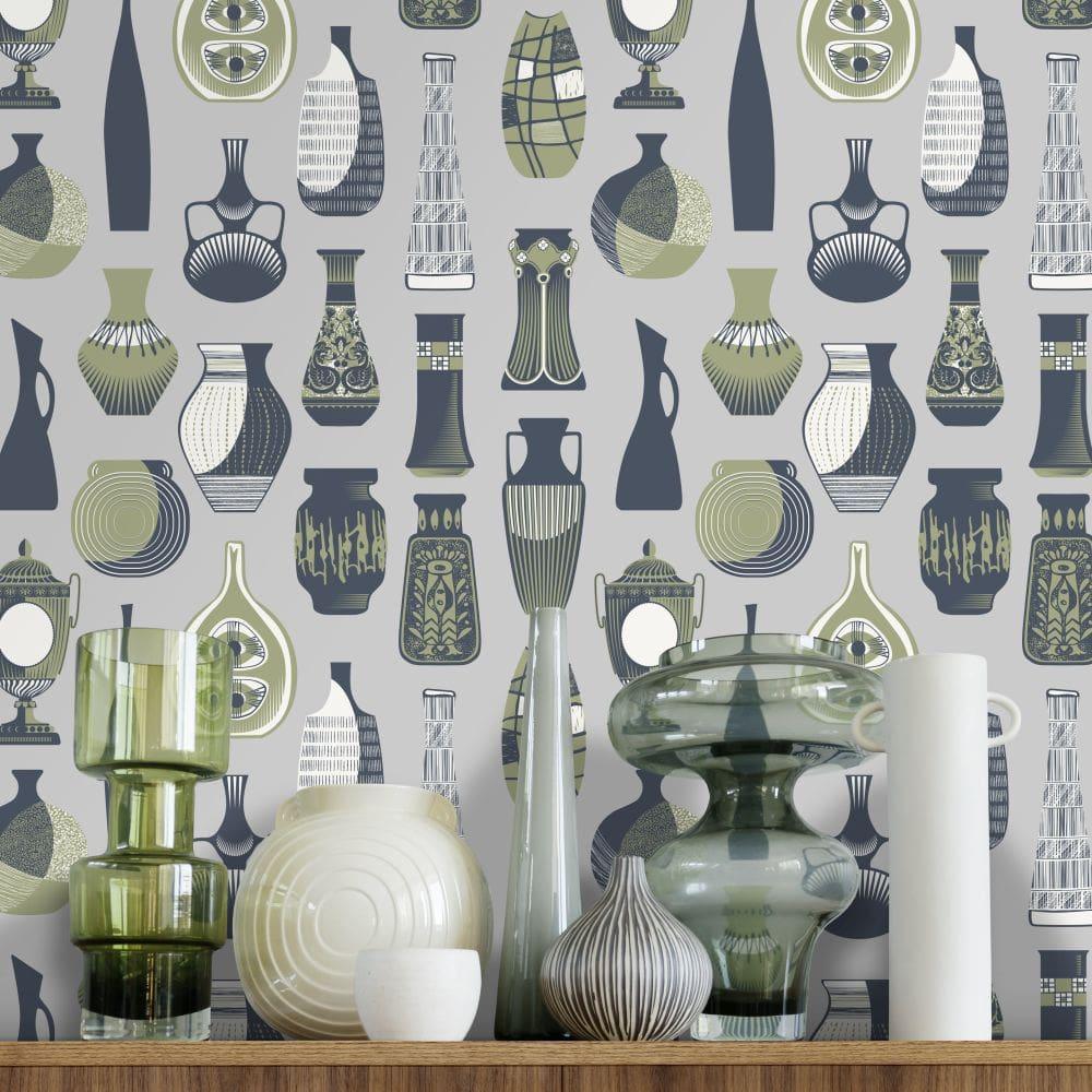 Vessel Wallpaper - Concrete - by Mini Moderns