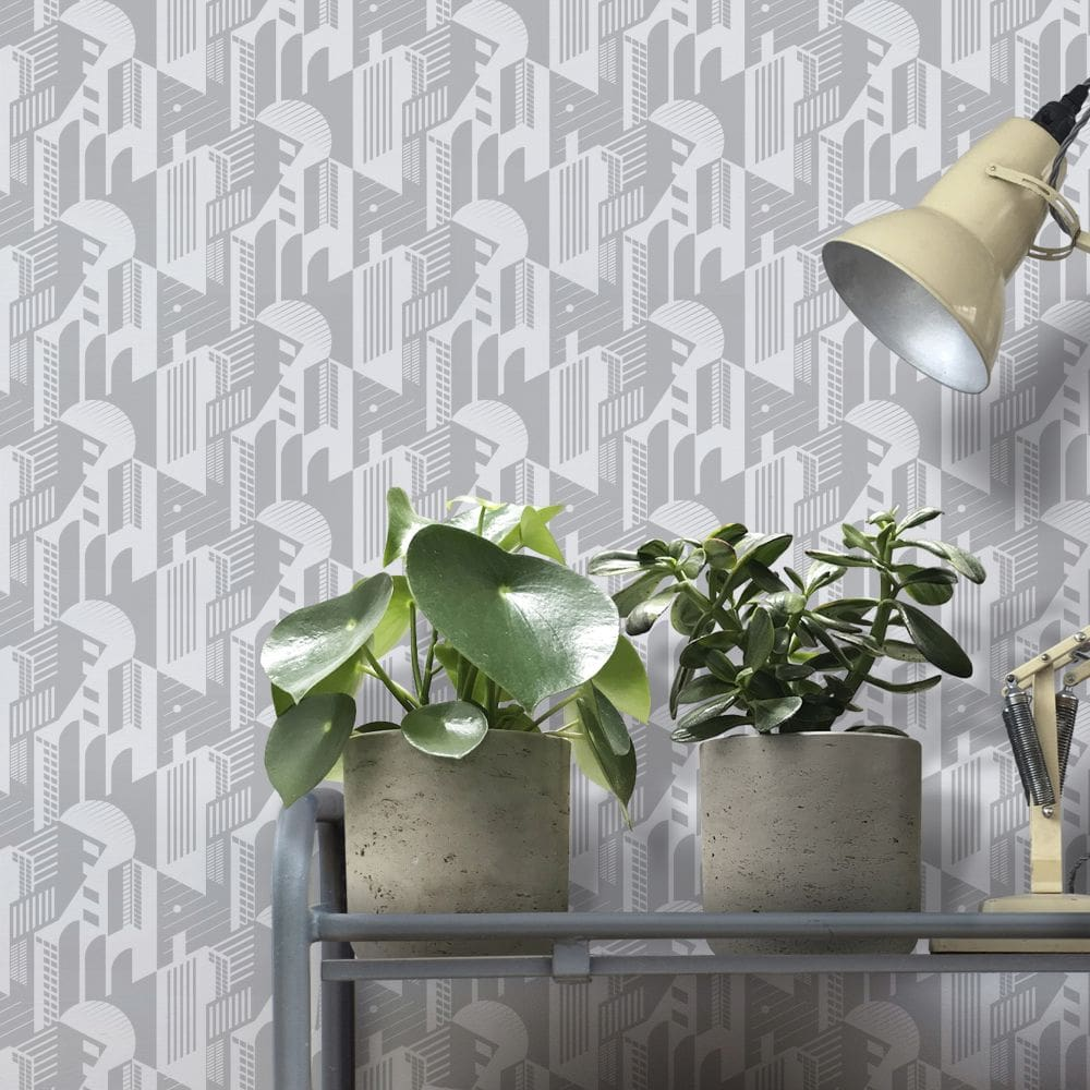 Bauhaus Wallpaper - Concrete - by Mini Moderns