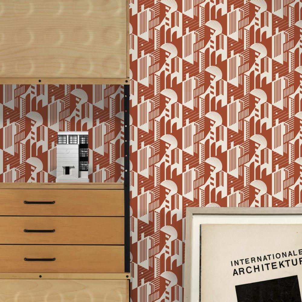 Bauhaus Wallpaper - Harvest Orange - by Mini Moderns