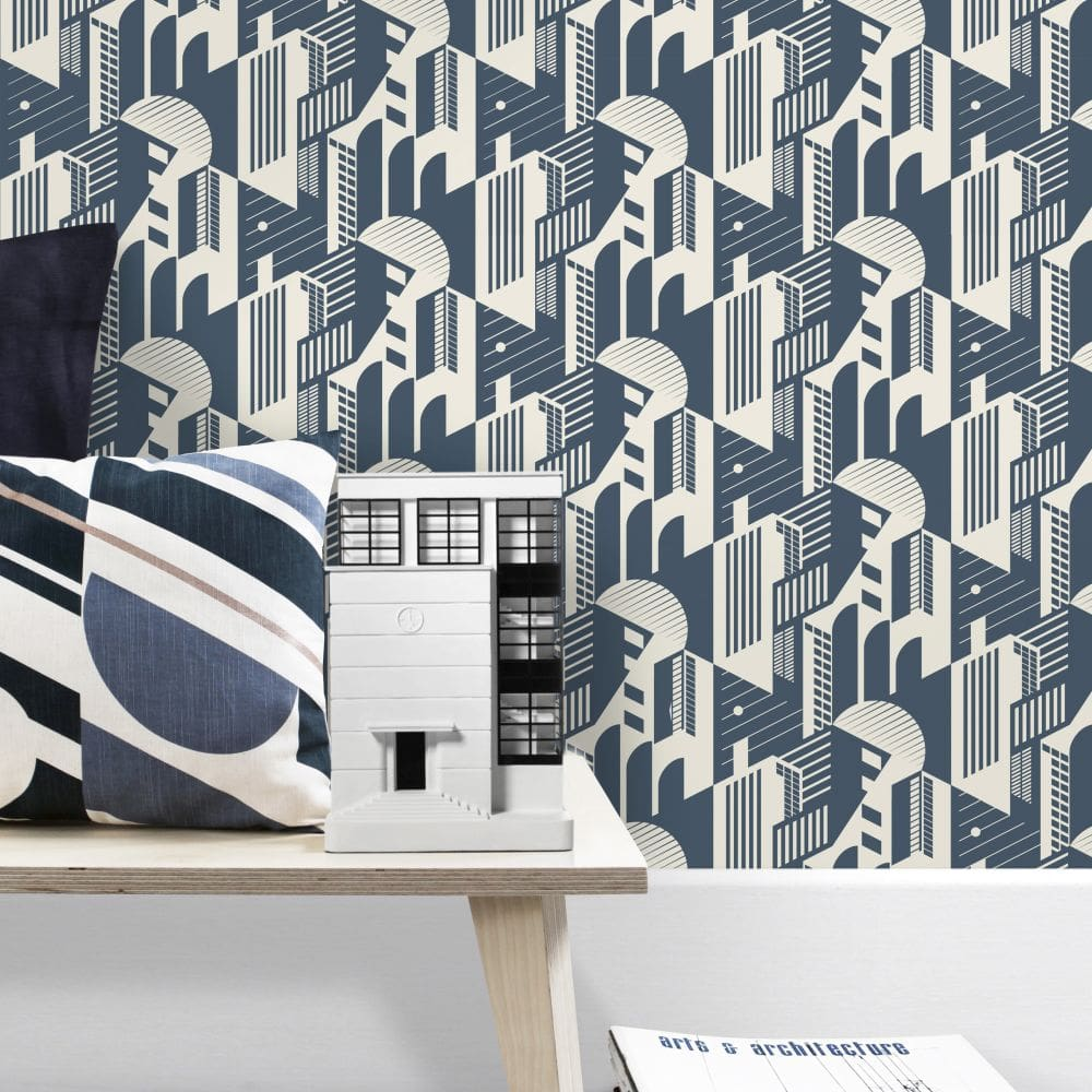 Mini Moderns Bauhaus Washed Denim Wallpaper - Product code: AZDPT044WD