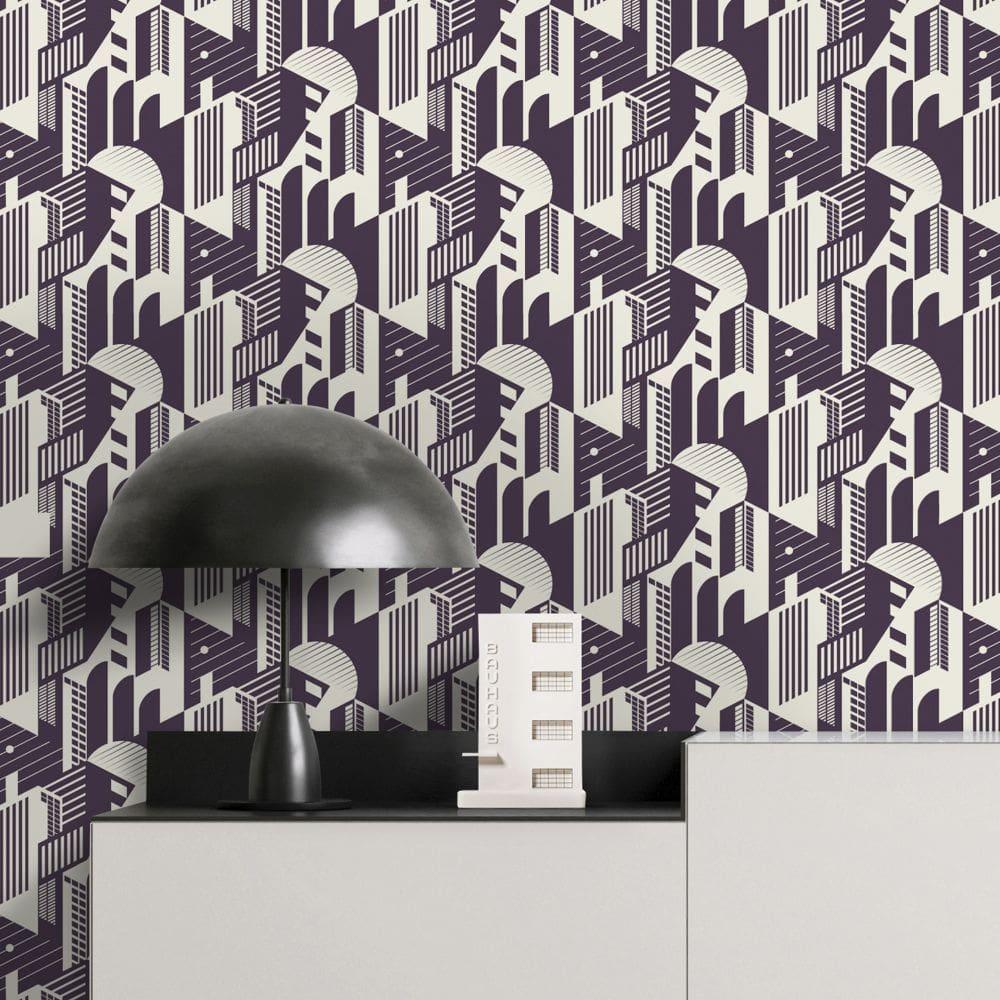 Mini Moderns Bauhaus Winter Plum Wallpaper - Product code: AZDPT044WP