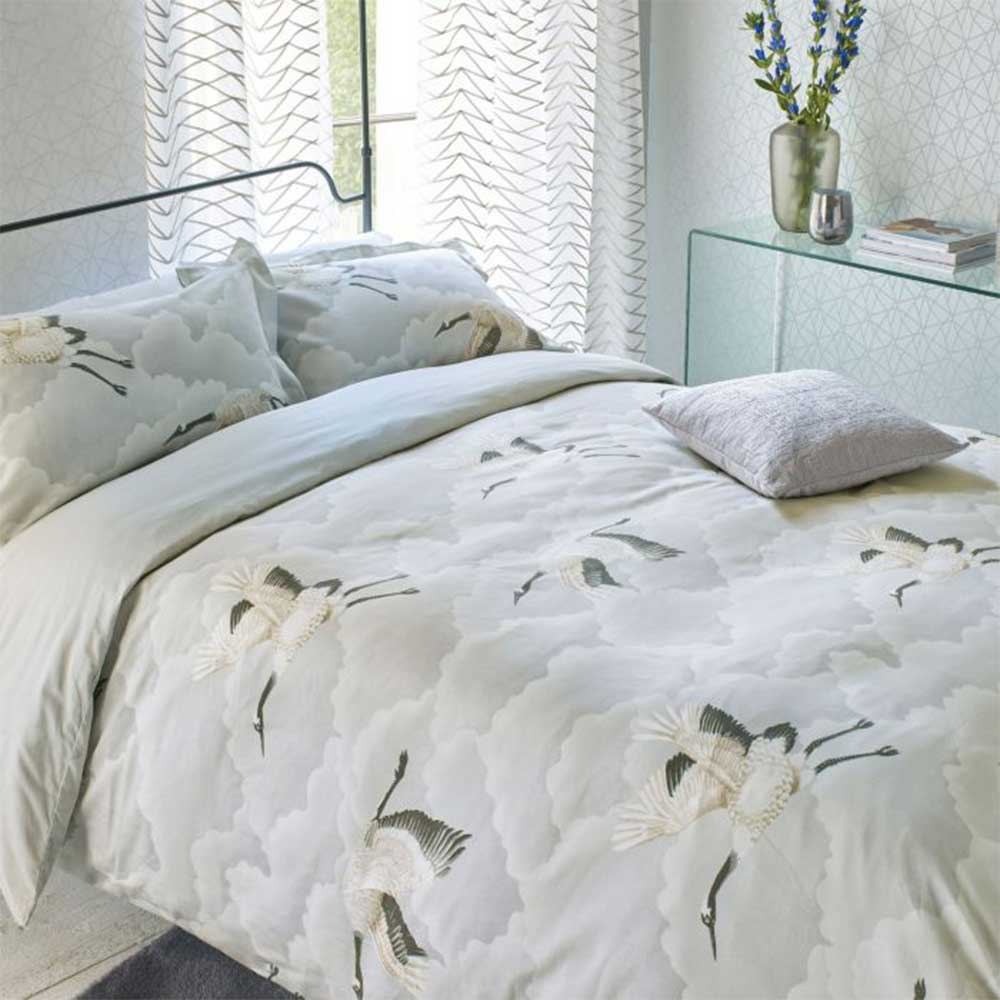 Cranes in Flight Duvet Cover - Silver - by Harlequin