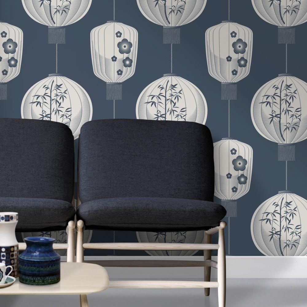 Mini Moderns Lucky Lantern Washed Denim Wallpaper - Product code: AZDPT045WD