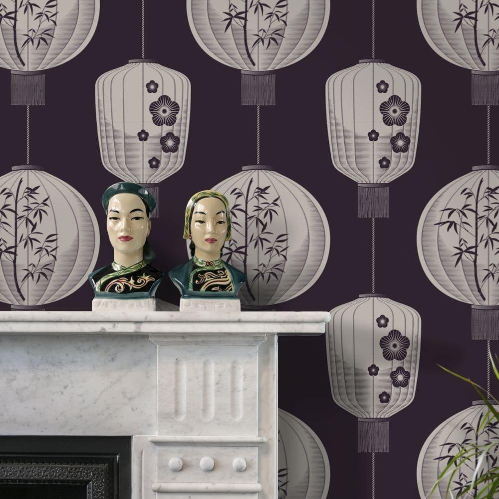 Mini Moderns Lucky Lantern Winter Plum Wallpaper - Product code: AZDPT045WP