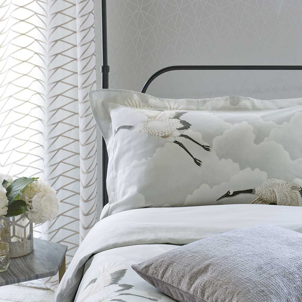 Cranes in Flight Oxford Pillowcase - Silver - by Harlequin