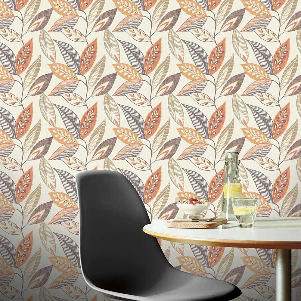 Arthouse Sylvan Leaf Orange Wallpaper - Product code: 904900