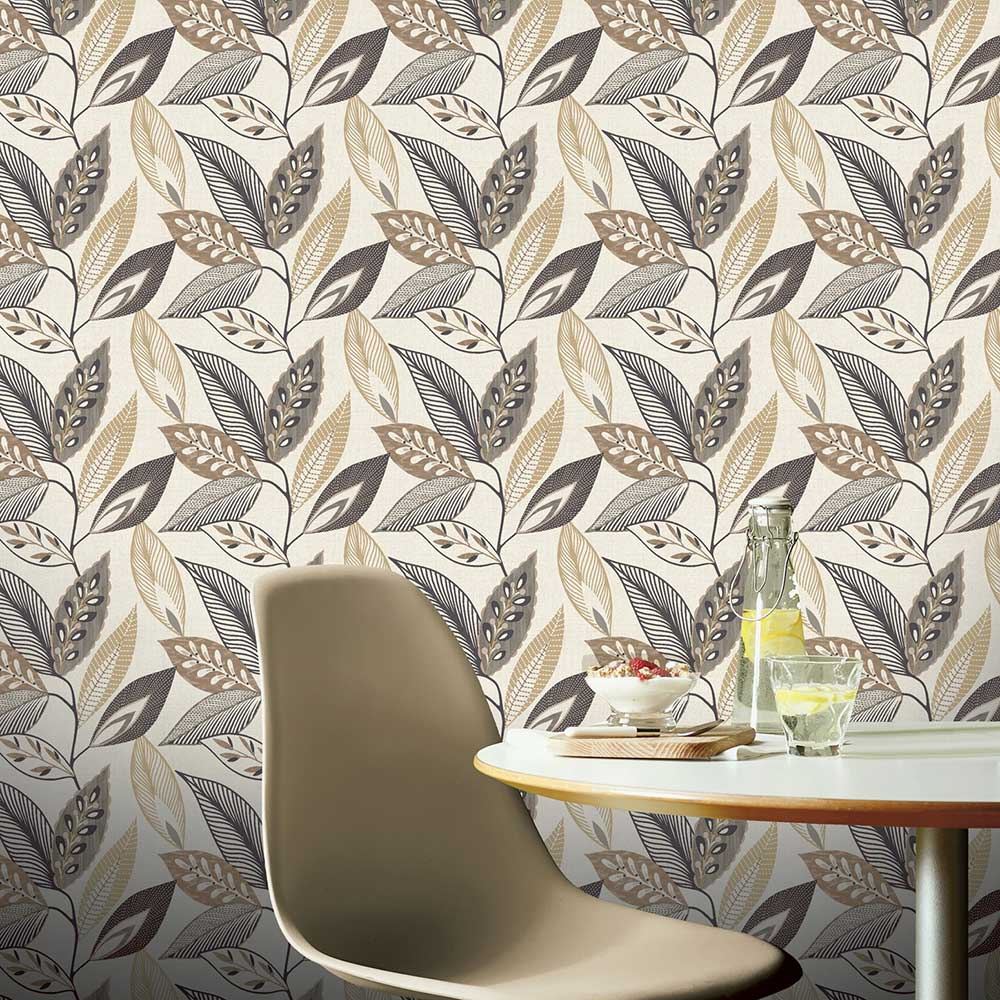 Arthouse Sylvan Leaf Charcoal Wallpaper - Product code: 904901
