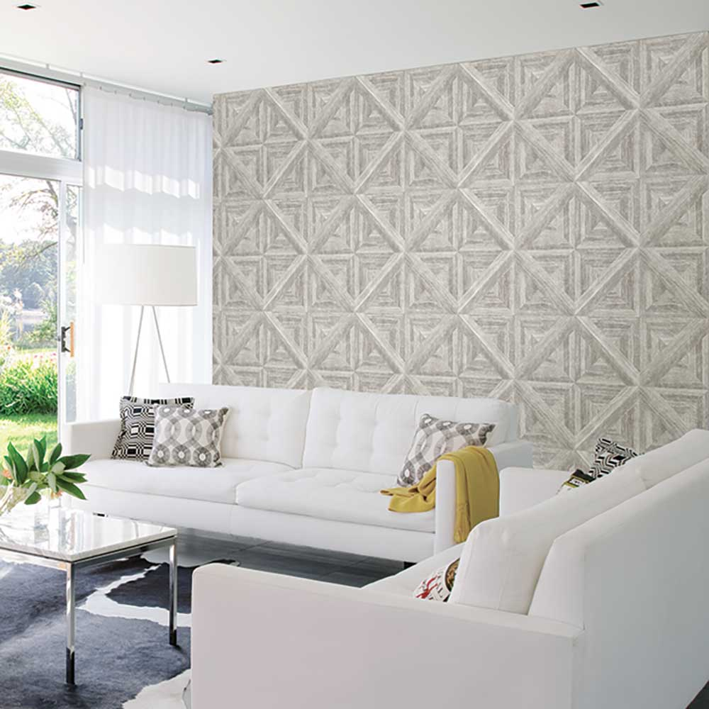 Diamond Parquet Wallpaper - Silver Grey - by Albany