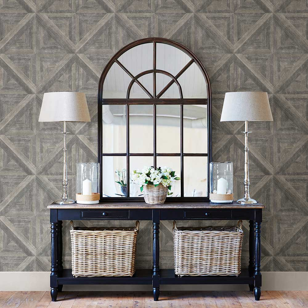 Diamond Parquet Wallpaper - Grey - by Albany