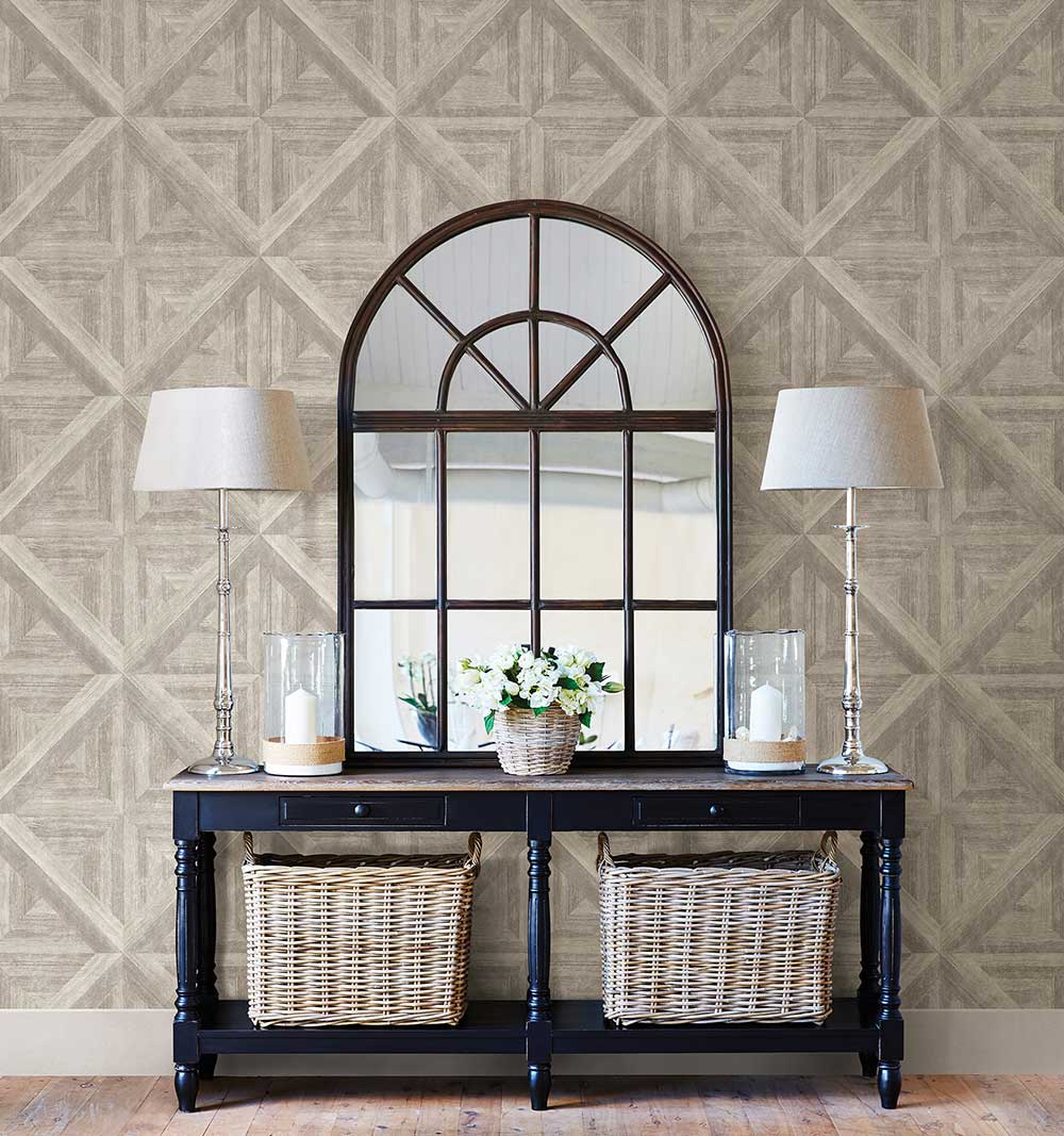 Diamond Parquet Wallpaper - Taupe - by Albany
