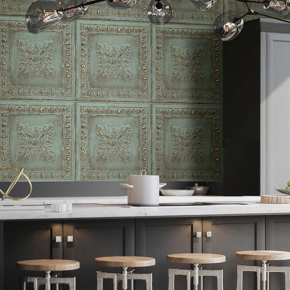 Tin Tile Wallpaper - Blue - by Albany