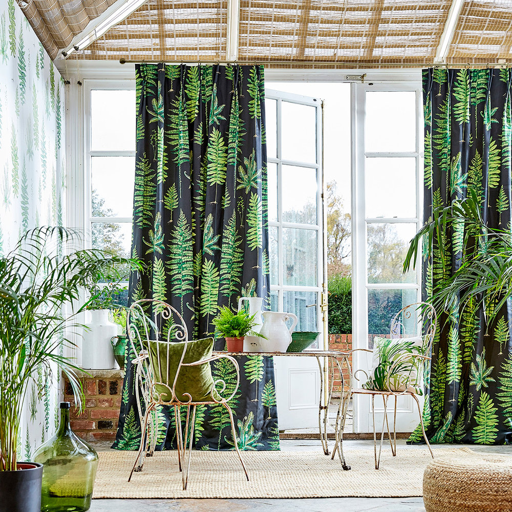Fernery Fabric - Botanical Green / Charcoal - by Sanderson