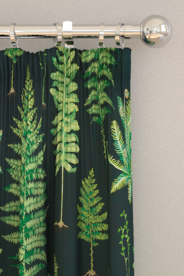 Sanderson Fernery Botanical Green / Charcoal Curtains - Product code: 226577