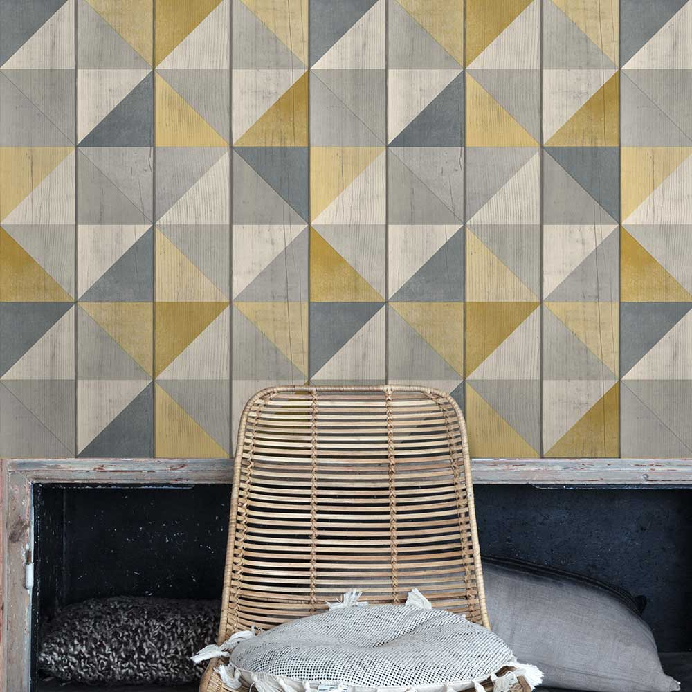 Geo Wood Wallpaper - Yellow - by Albany