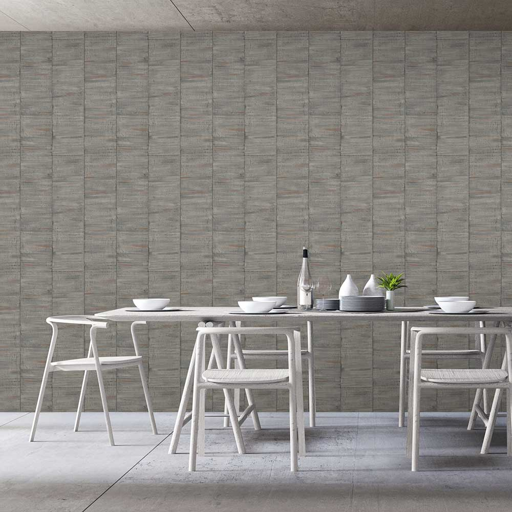 Sanded Wood Wallpaper - Grey - by Albany