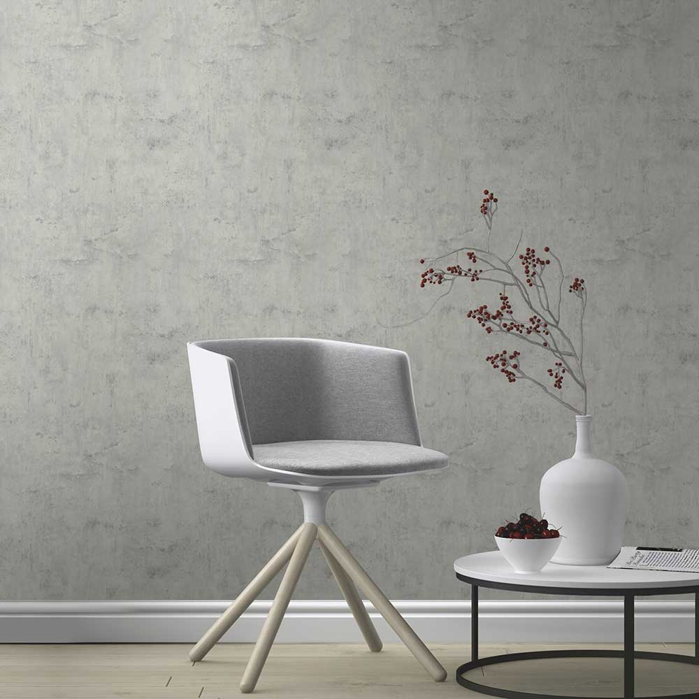 Plaster Look Wallpaper - Grey - by Albany