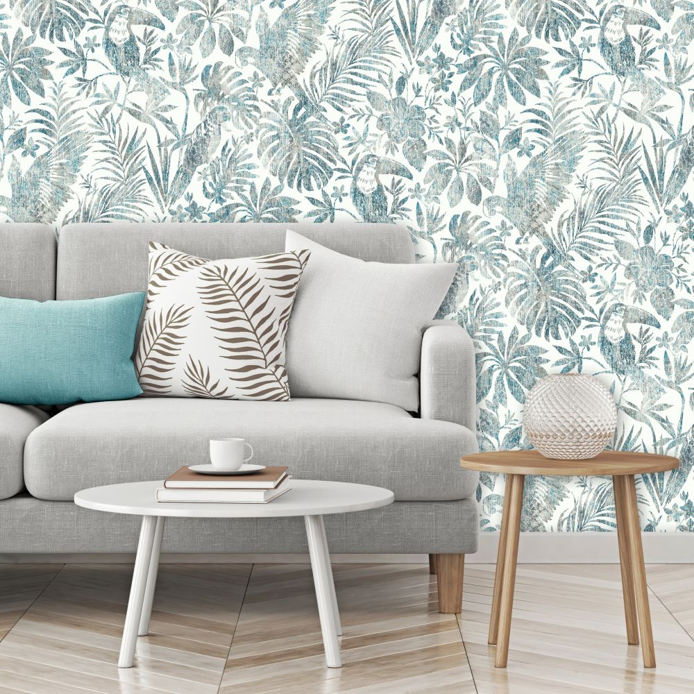 Distressed Jungle Wallpaper - Blue - by Albany