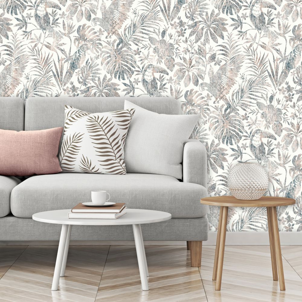 Distressed Jungle Wallpaper - Coral - by Albany