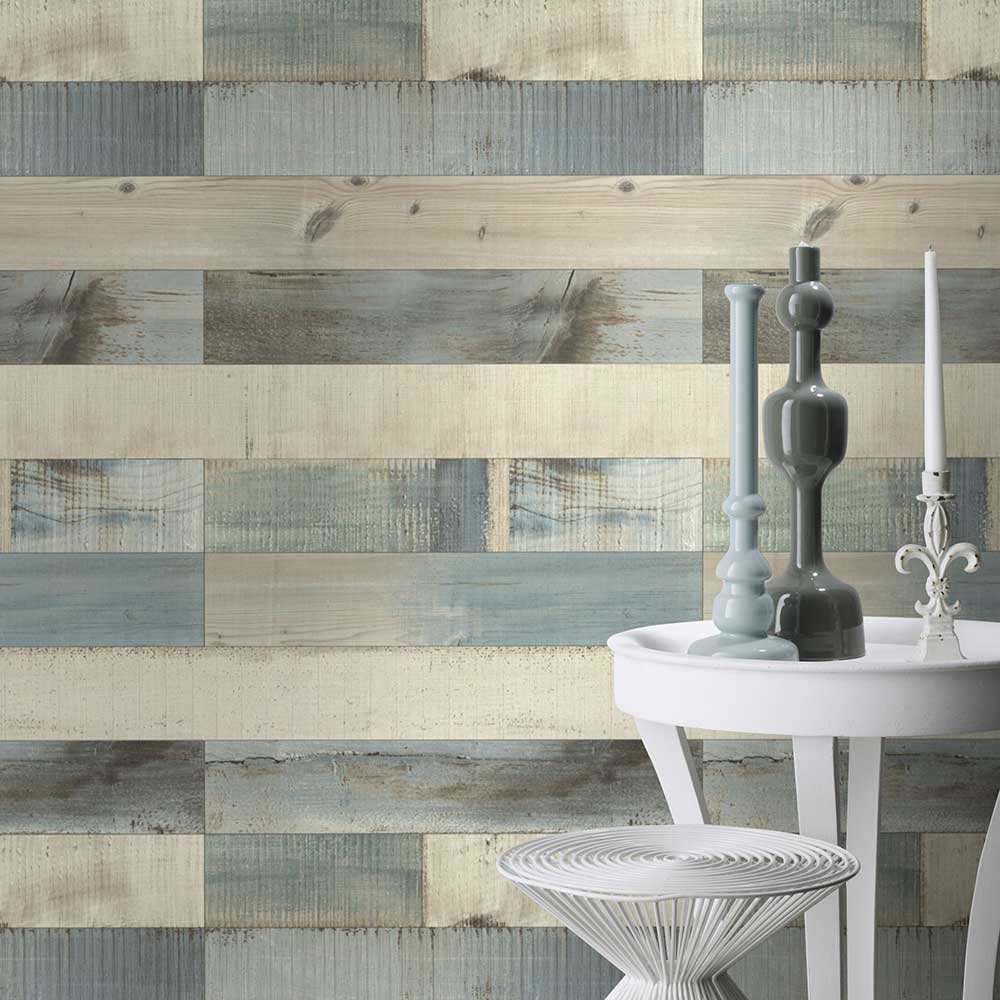 Floor Boards Wallpaper - Blue  / Grey  - by Albany