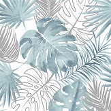 Tropical Leaves By Albany Blue Wallpaper Direct