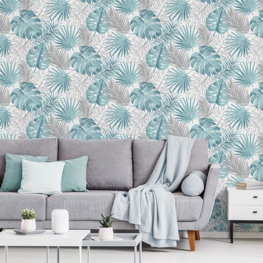 Tropical Leaves Wallpaper - Blue - by Albany