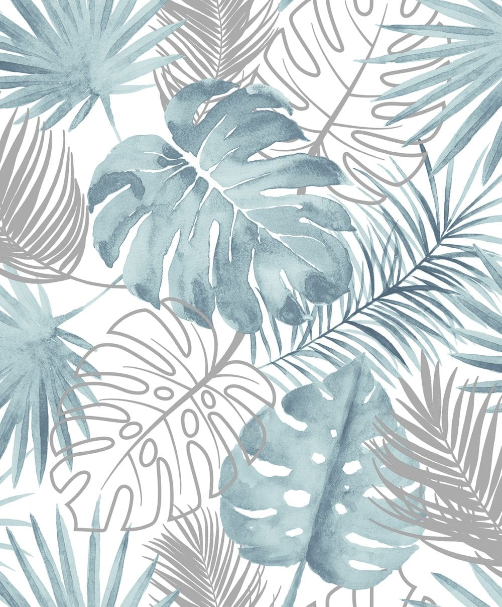 Albany Tropical Leaves Blue Wallpaper - Product code: L60401