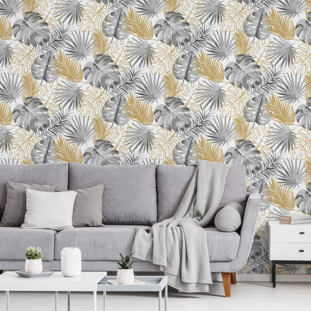 Albany Tropical Leaves Grey Wallpaper - Product code: L60409