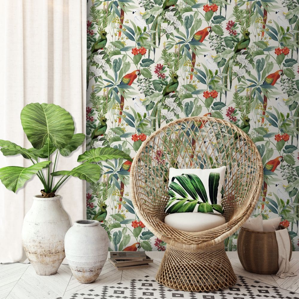 Ikala Parrot Wallpaper - Multi Coloured - by Albany